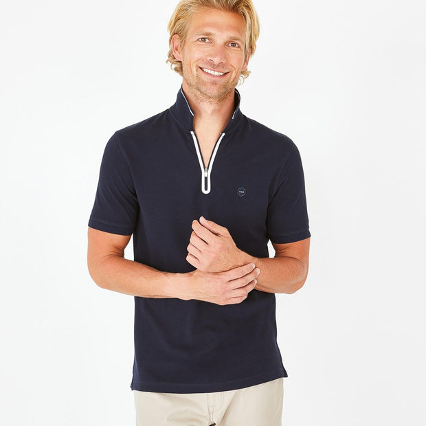 Navy blue cotton Hexa polo with zip neck