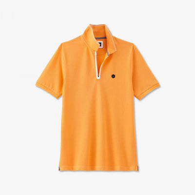 Orange cotton Hexa polo with zip neck