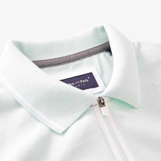 Mint green cotton Hexa polo with zip neck