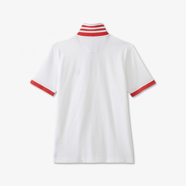 White Pima cotton polo with contrasting red accents