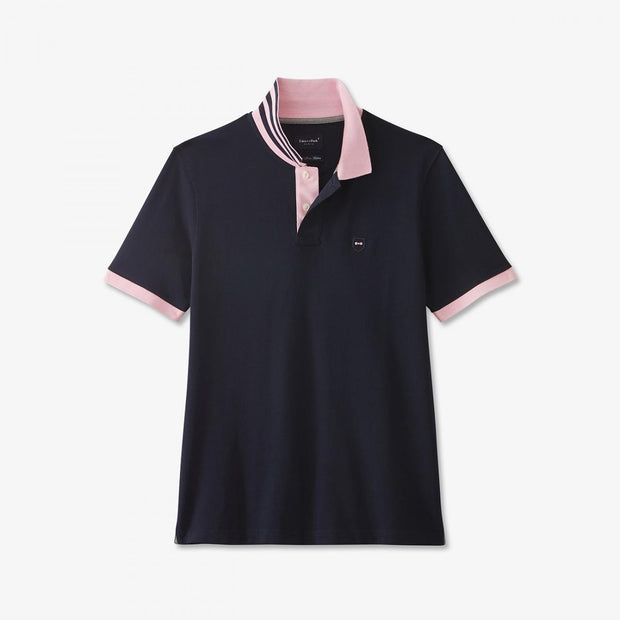 Navy blue Pima cotton polo with contrasting accents