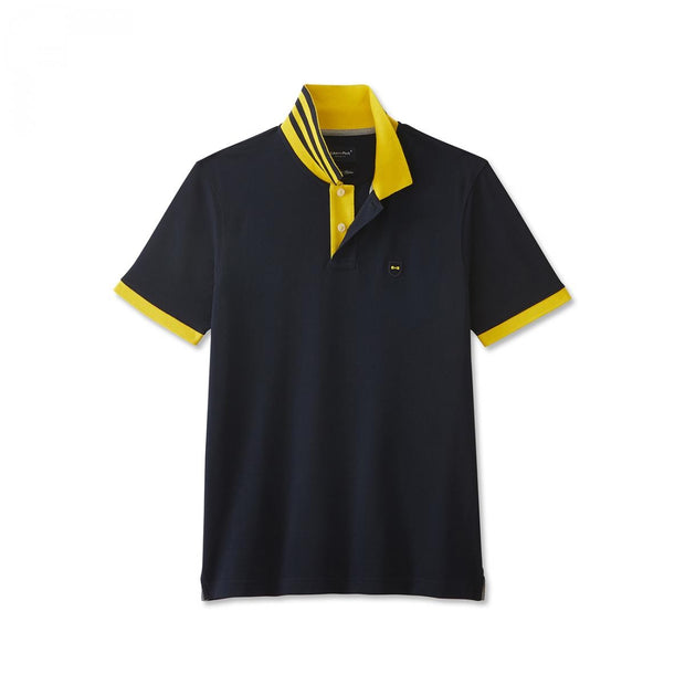 Blue Pima cotton polo with contrasting yellow accents