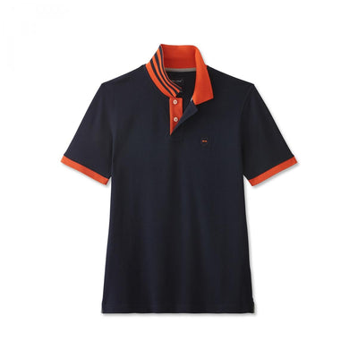 Blue Pima cotton polo with contrasting orange accents