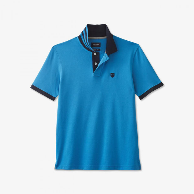 Blue Pima cotton polo with contrasting accents