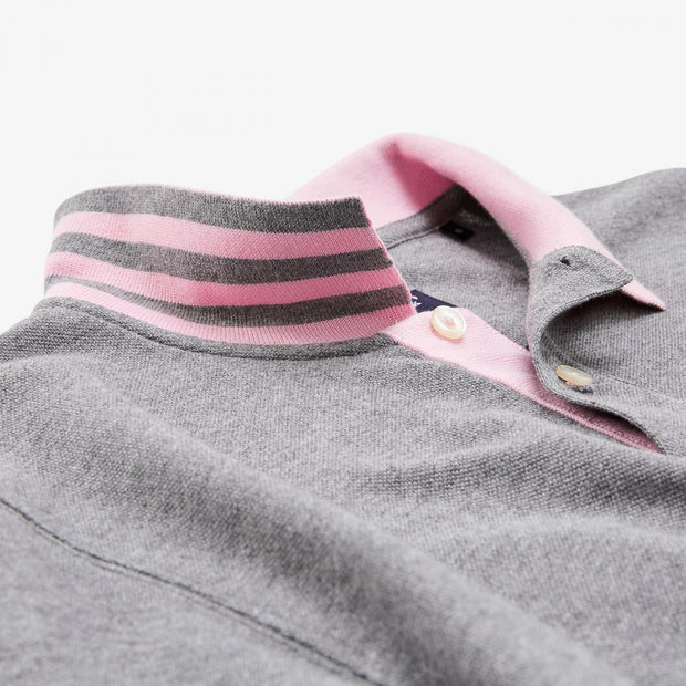 Grey Pima cotton polo with contrasting accents