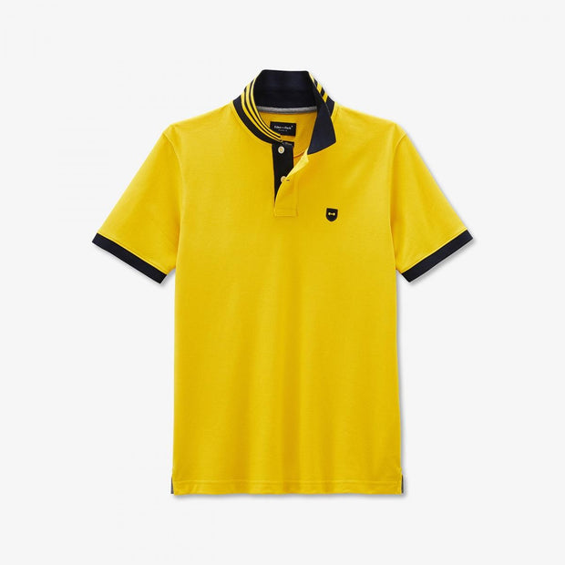 Yellow Pima cotton polo with contrasting accents