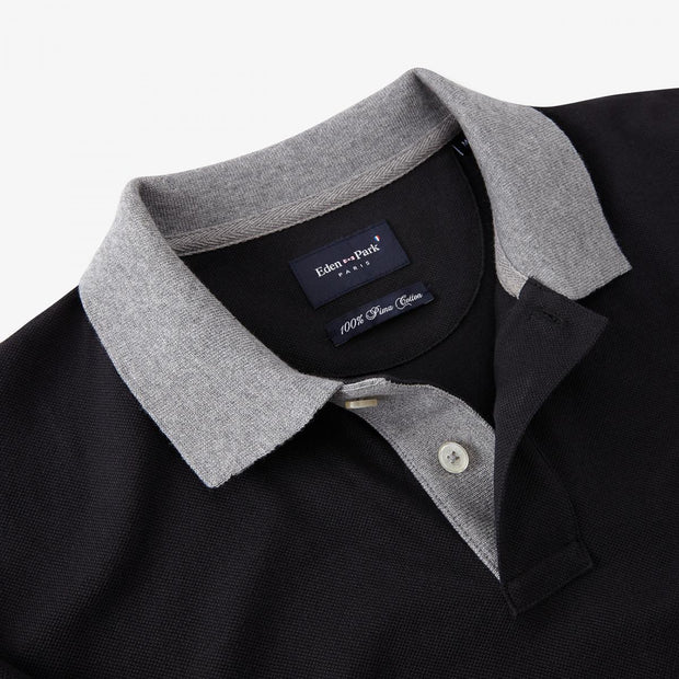 Black Pima cotton polo with contrasting accents