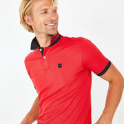 Pink Pima cotton polo with contrasting accents