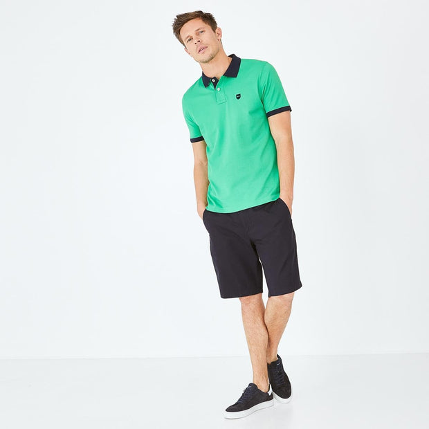 Green Pima cotton polo with contrasting accents