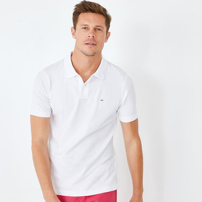 Slim fit unicolour white stretch Pima cotton polo