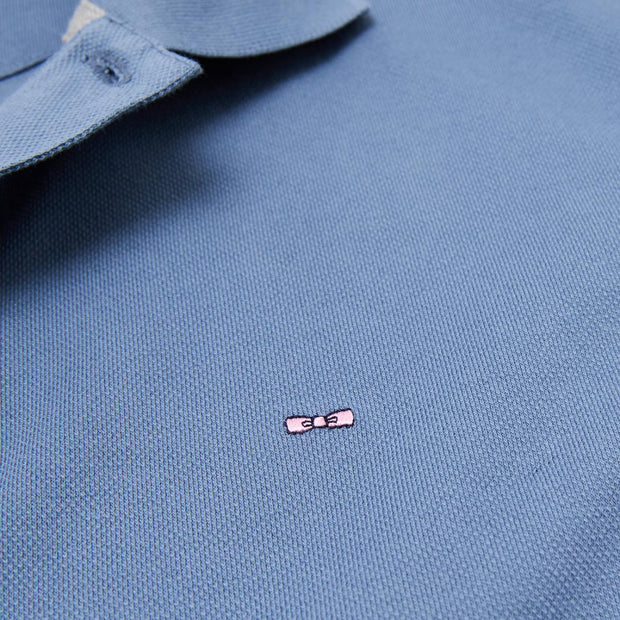 Slim fit unicolour blue stretch Pima cotton polo