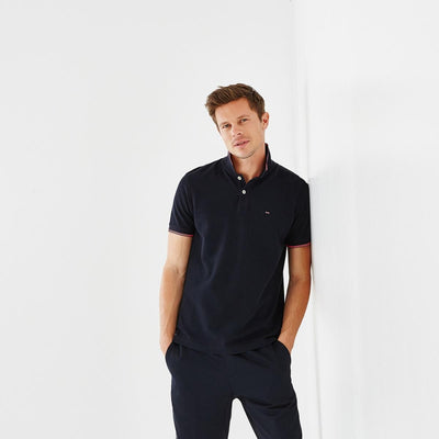 Unicolour navy blue cotton Fluo polo