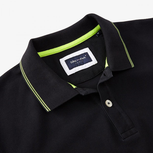 Unicolour black cotton Fluo polo