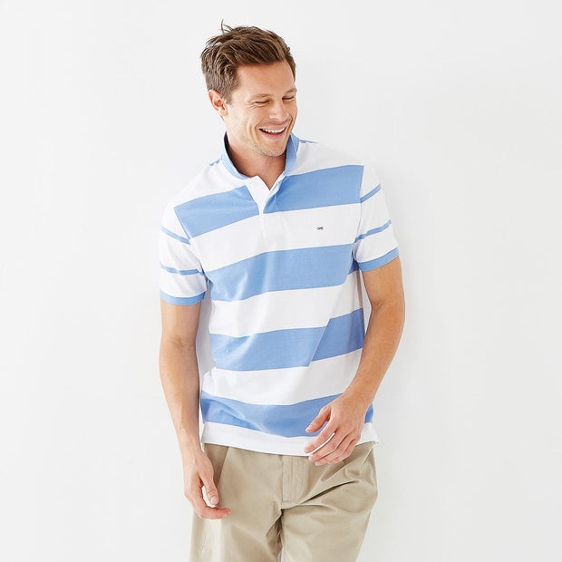 White and blue striped cotton polo