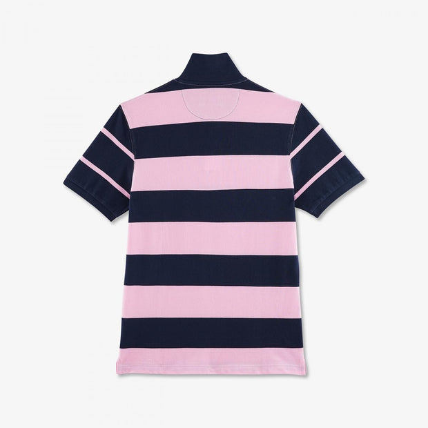 Navy blue and pink striped cotton polo