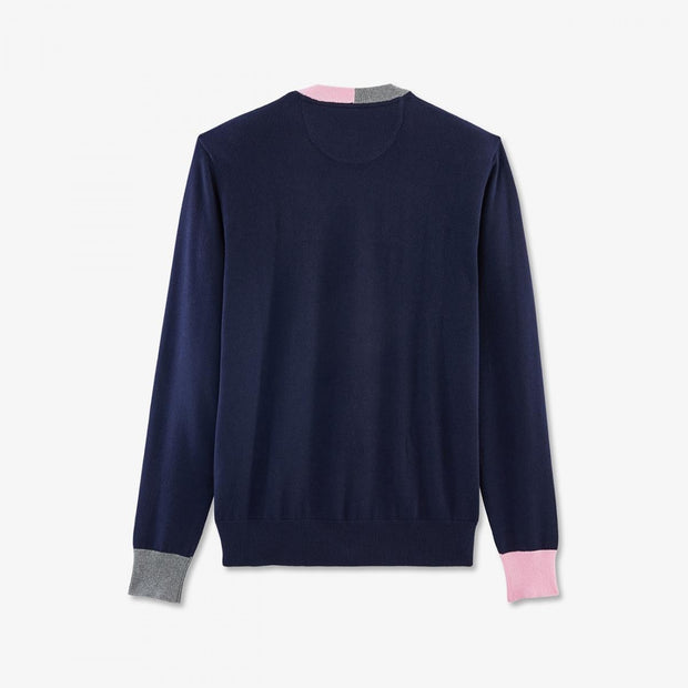 Navy blue cotton jumper with contrasting accents