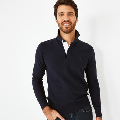 Navy blue Colorbow jumper with embroidered rugby shirt collar