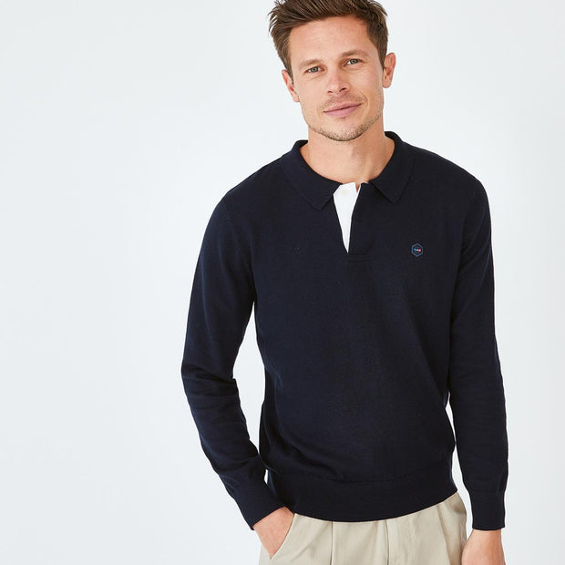 Navy blue cotton Hexa jumper with polo collar