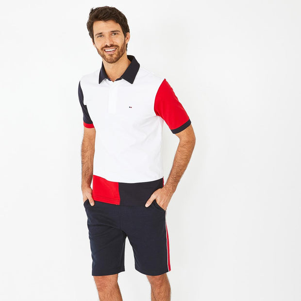 Navy blue bermuda shorts with contrast bands