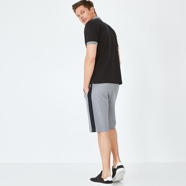 Grey bermuda shorts with contrast bands