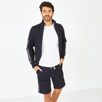 Navy blue cotton knit shorts with bands