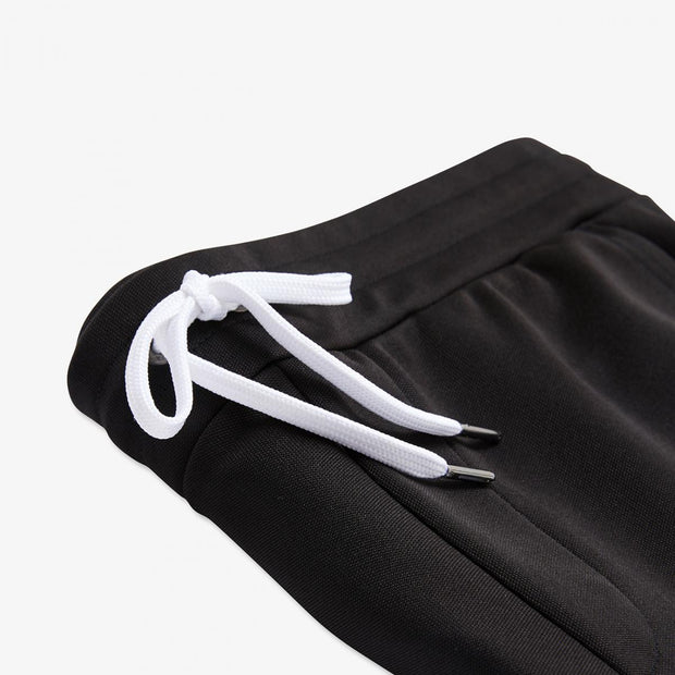 Black cotton knit shorts with bands
