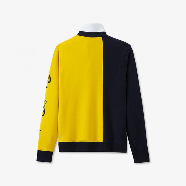 Yellow colour-block fleece sweatshirt with rugby collar