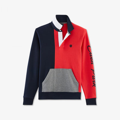 Red colour-block fleece sweatshirt with rugby collar