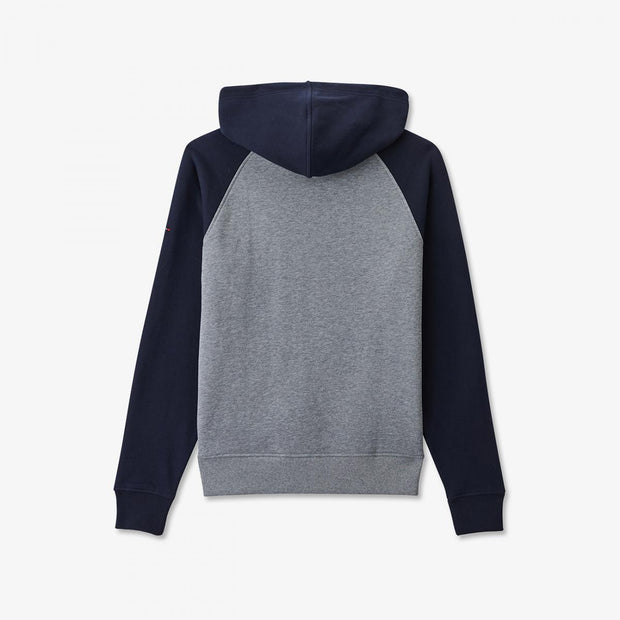 Hooded bicolour fleece sweatshirt