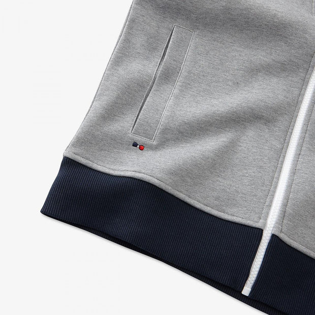 Hooded zip sweatshirt with contrast bands