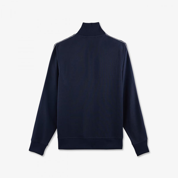 Navy blue cotton knit sweatshirt with bands