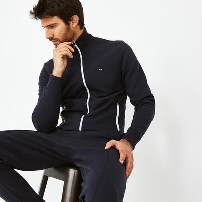 Navy blue soft cotton zip jacket
