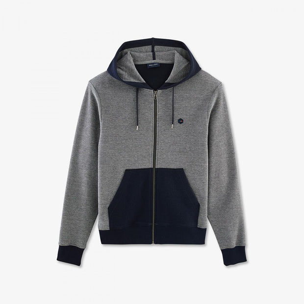 Slim fit hooded navy blue fleece Hexa jacket