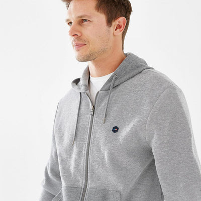 Slim fit hooded grey fleece Hexa jacket