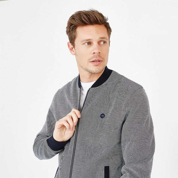 Slim fit navy blue fleece Hexa teddy jacket