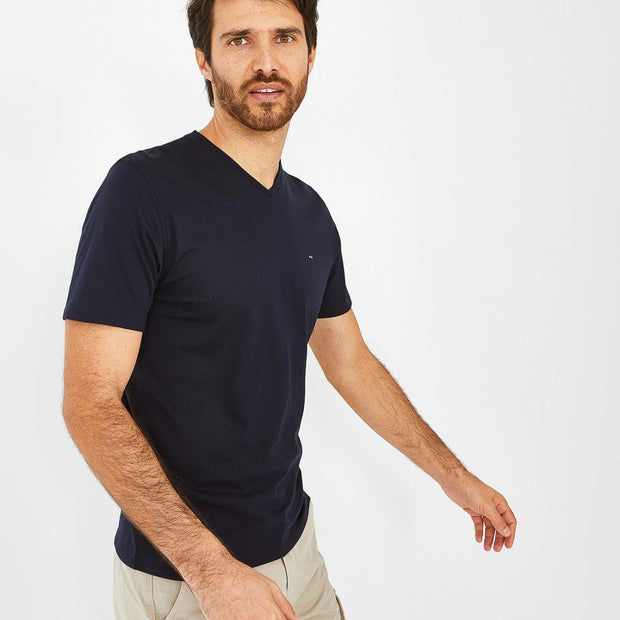 V-neck unicolour navy blue Pima cotton T-shirt