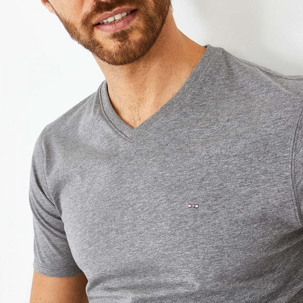 V-neck unicolour grey Pima cotton T-shirt