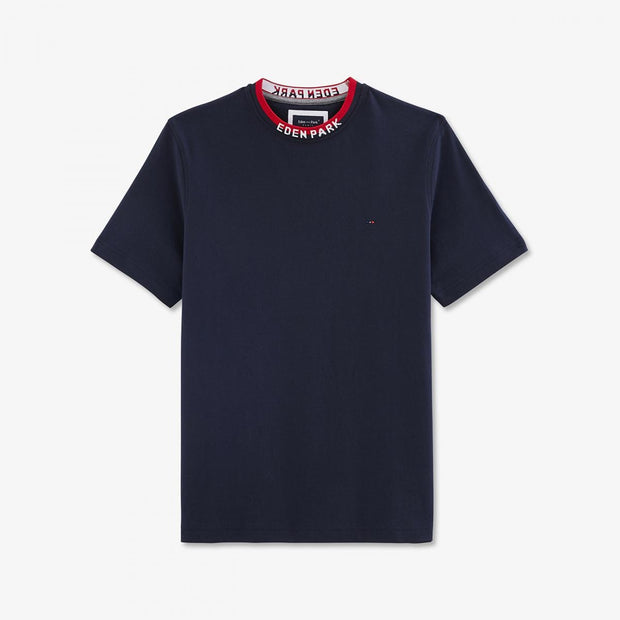 Navy blue cotton T-shirt with bicolour neck