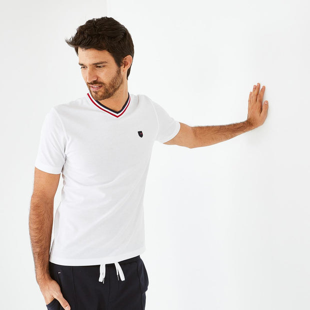 White cotton piqué T-shirt with tricolour V-neck