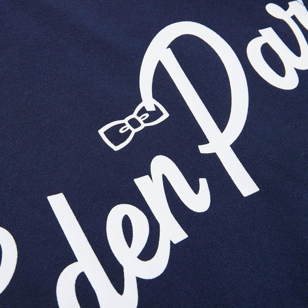 Navy blue cotton T-shirt with print lettering