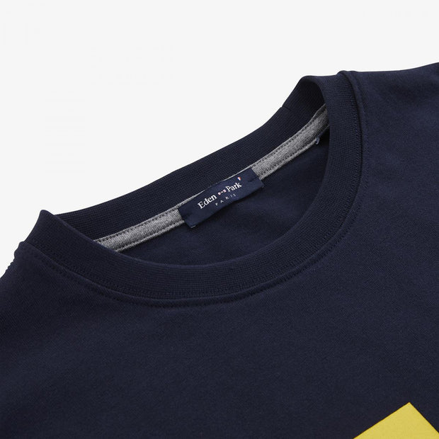 Navy blue cotton T-shirt with colourful print