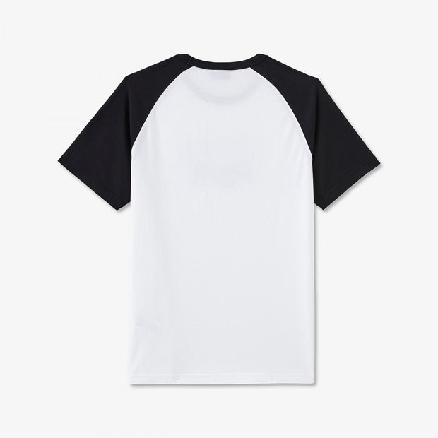 Print white cotton T-shirt with raglan sleeves