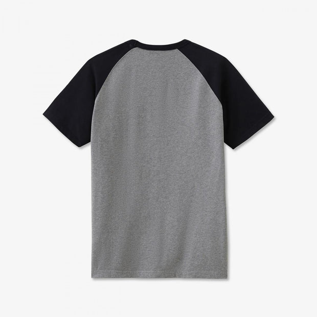 Print grey cotton T-shirt with raglan sleeves