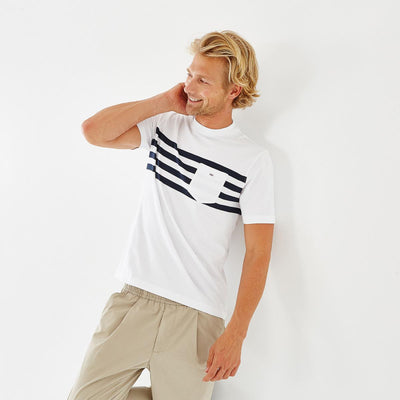 Nautical-style white cotton T-shirt