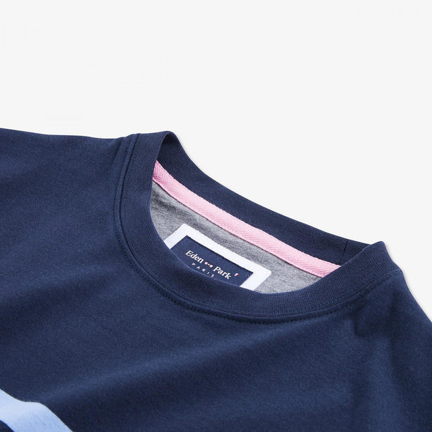 Nautical-style navy blue cotton T-shirt