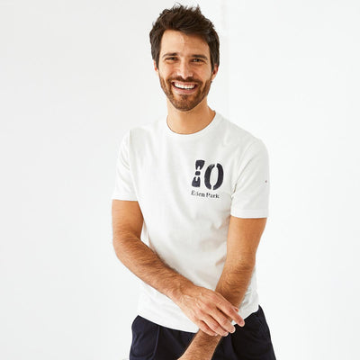 White flamme cotton T-shirt with number 10 print