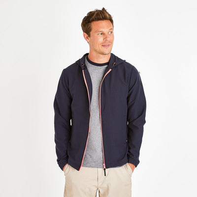 Navy blue lightweight nylon Fluo windcheater