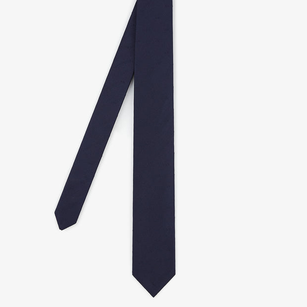 Navy blue silk necktie with bow tie pattern