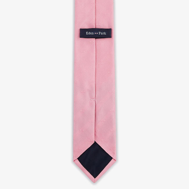 Pink silk necktie with bow tie pattern