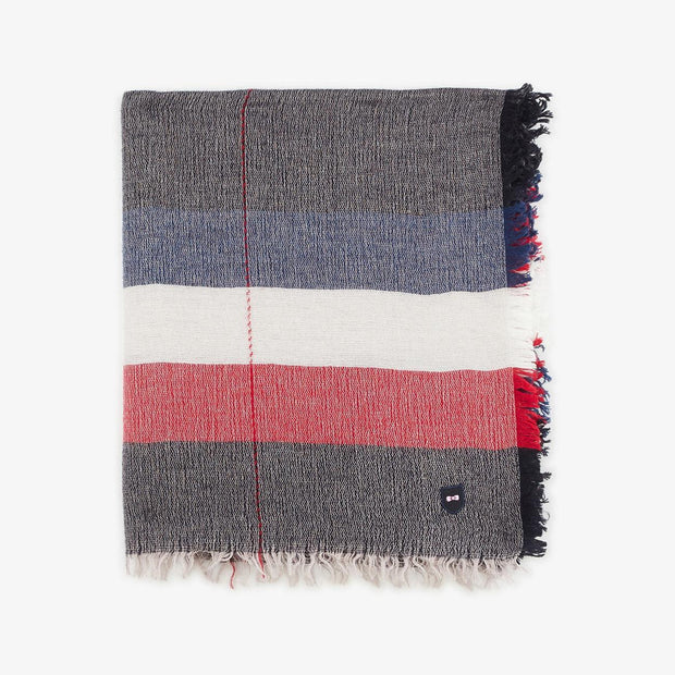 Navy blue scarf with tricolour stripes